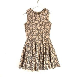 Maison Jules Nude & Black Floral Fit & Flare Dress
